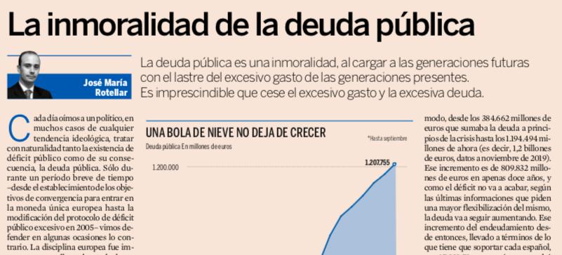 La inmoralidad de la deuda pública de José María Rotellar