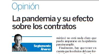 La pandemia y su efecto sobre los contratos de Segismundo Álvarez