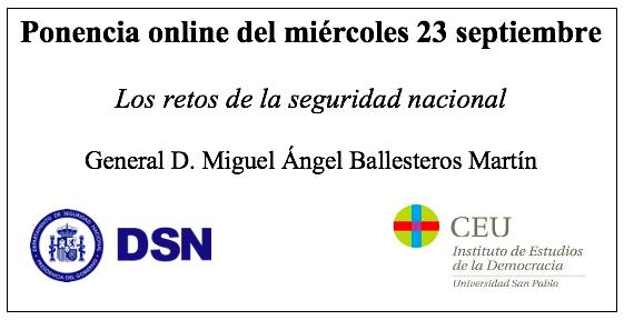 D. Miguel Ángel Ballesteros Martín inauguró el curso 2020-2021 en el Aula Política del IED